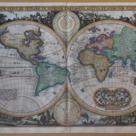 antique world map twin hemisphere