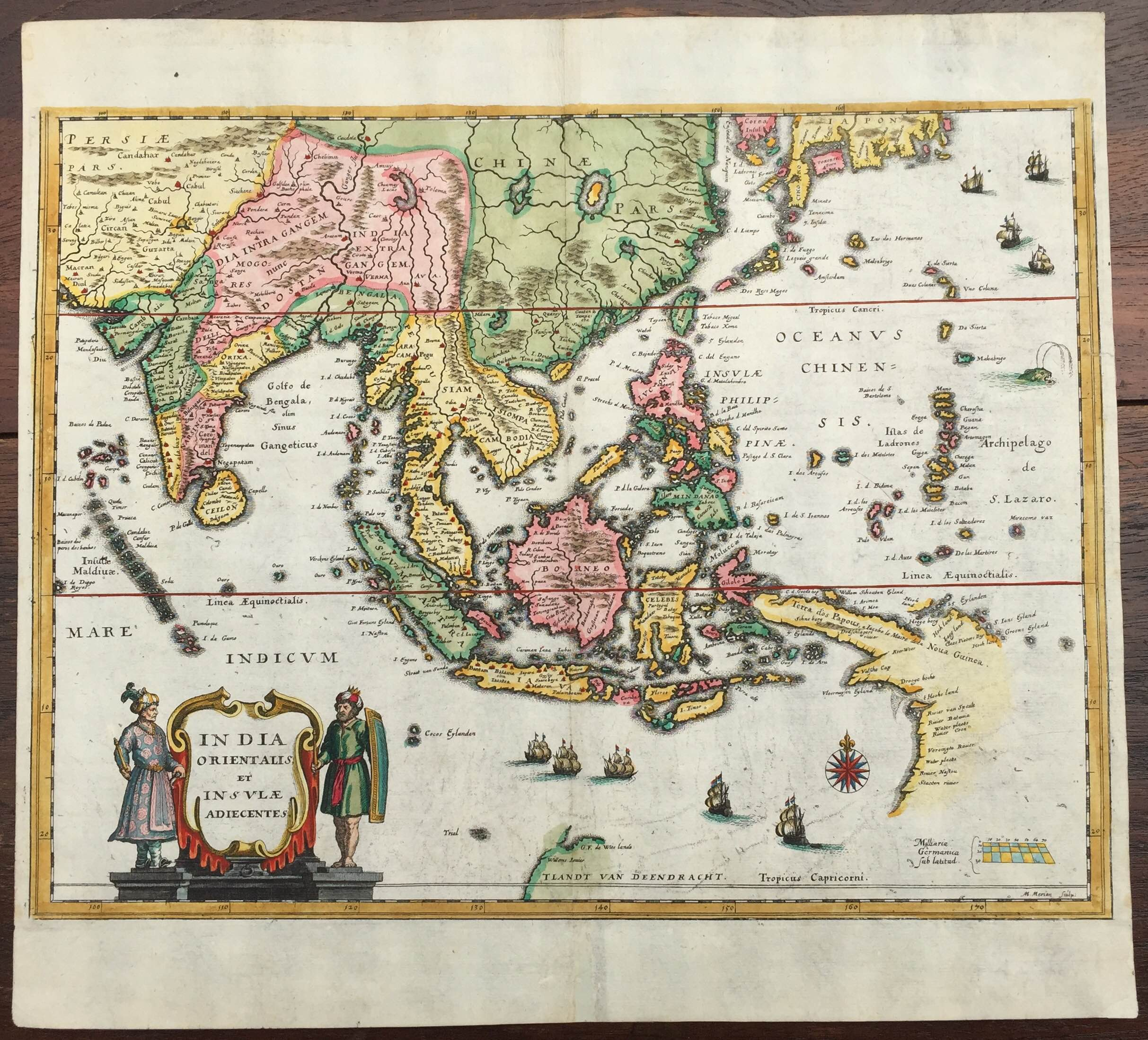 Map Of East And Southeast Asia.Antique Map South East Asia By Merian C 1638 Bartele Gallery