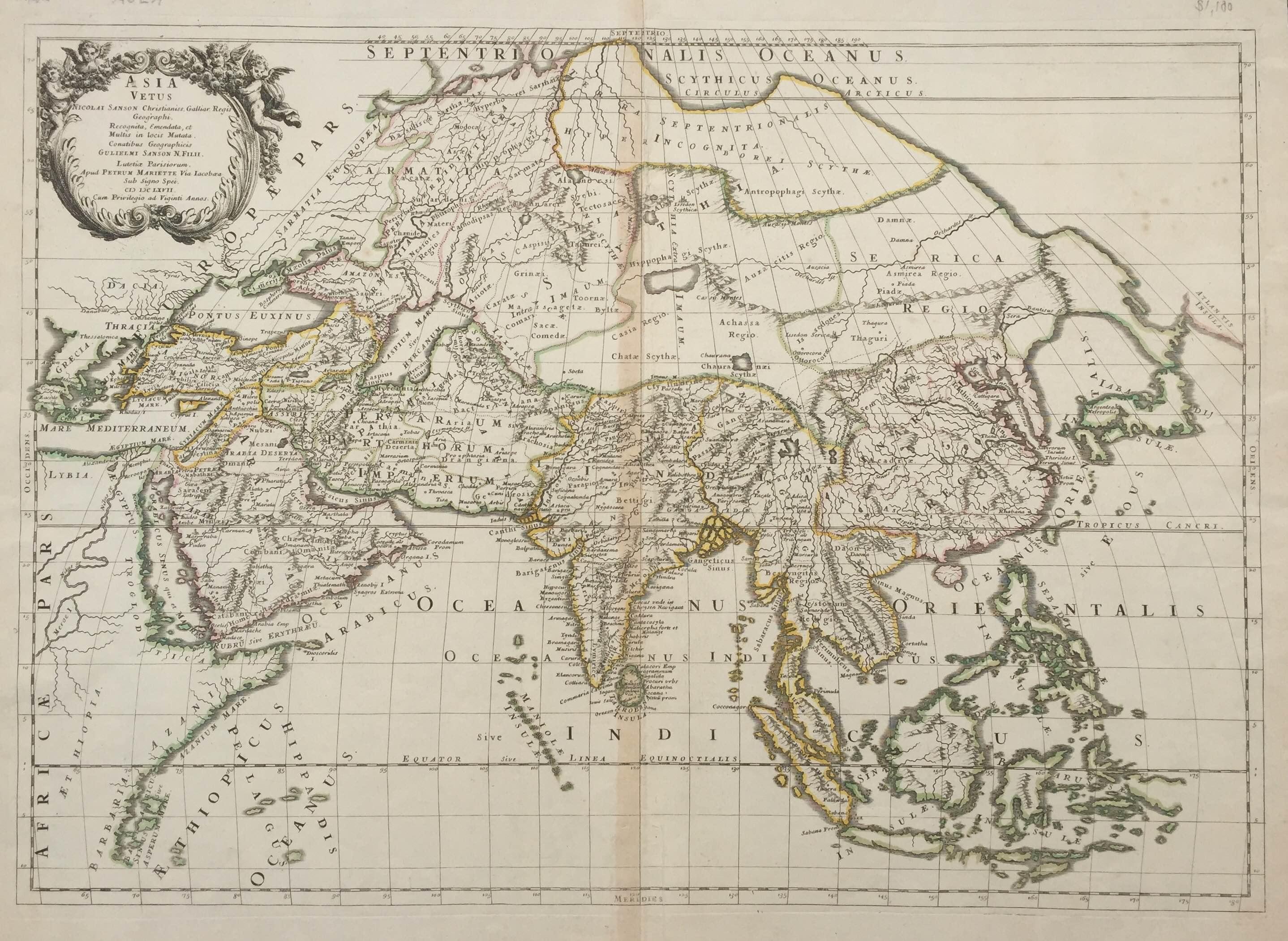 Antique map of asia by sanson c1667 bartele gallerybartele gallery antique map gumiabroncs Gallery