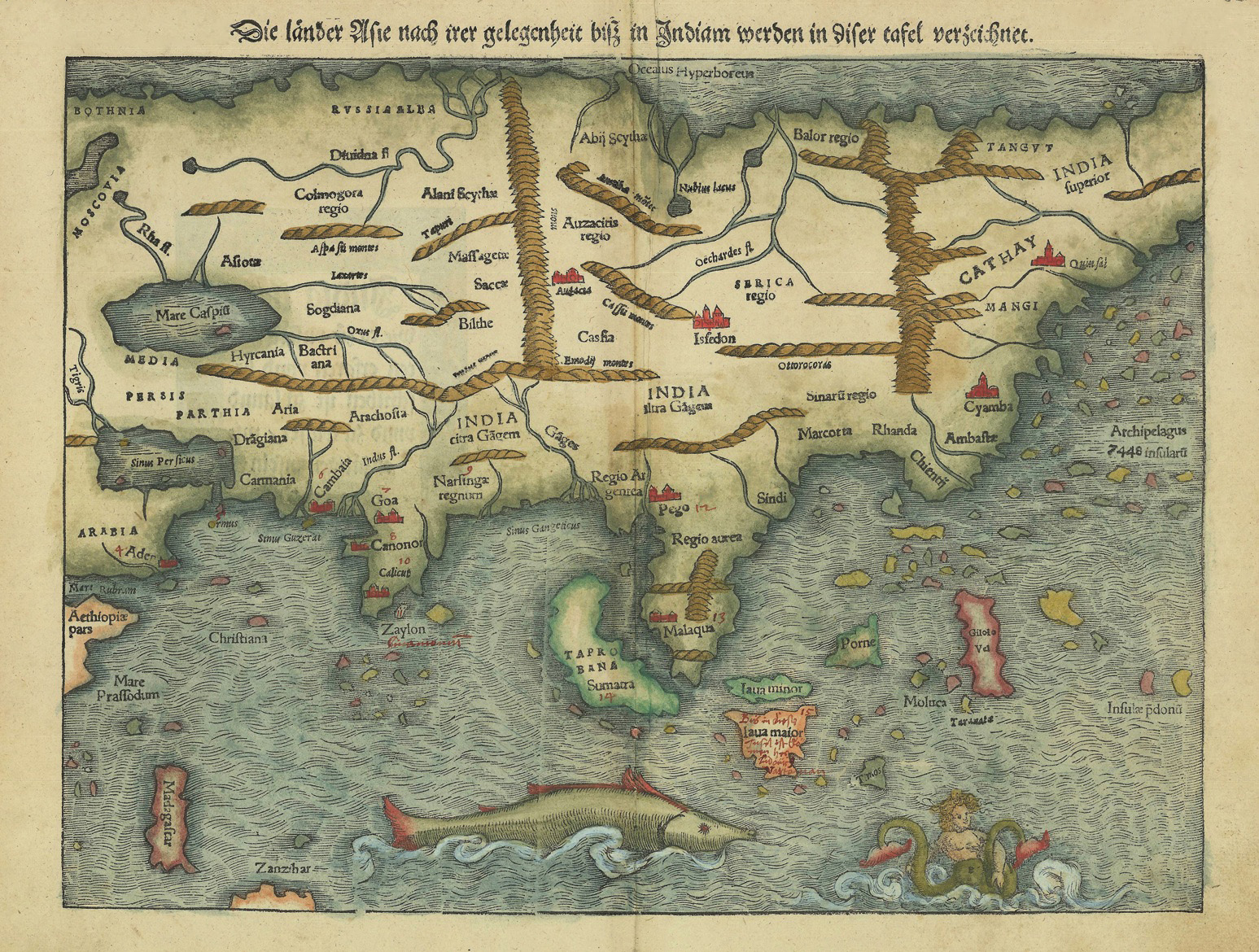 Woodcut map of Asia by SMnster Bartele GalleryBartele Gallery