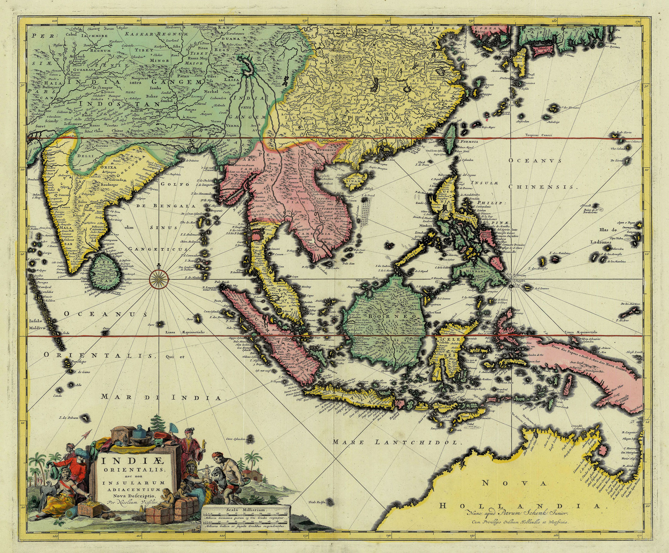 Antique Map East Indies By Visscher C 1760 Bartele Gallery
