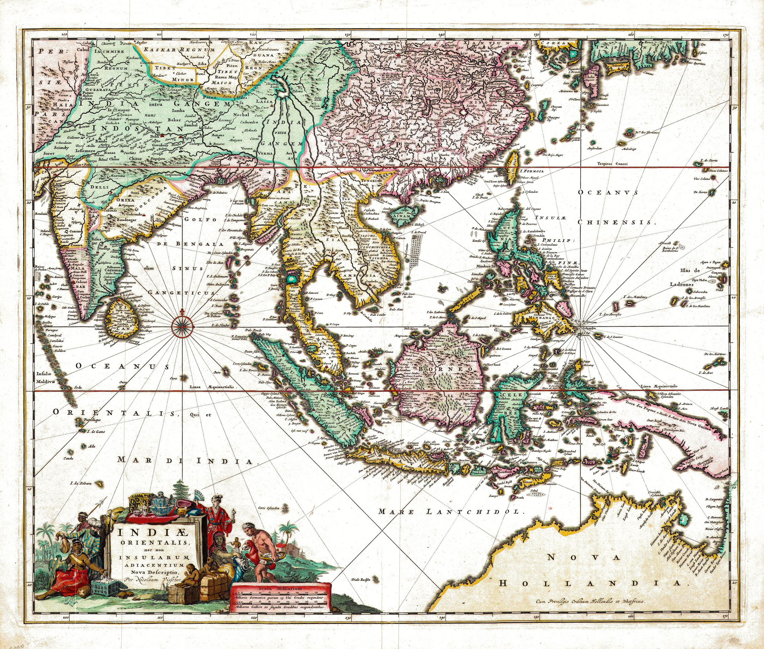 Antique Map of South-East Asia by Visscher (c.1670) - SOLD - Bartele ...