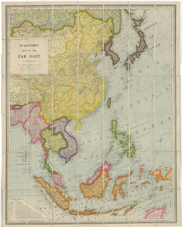 Map Of Asia Far East.Antique Map Of South East Asia By Stanford 1945 Bartele