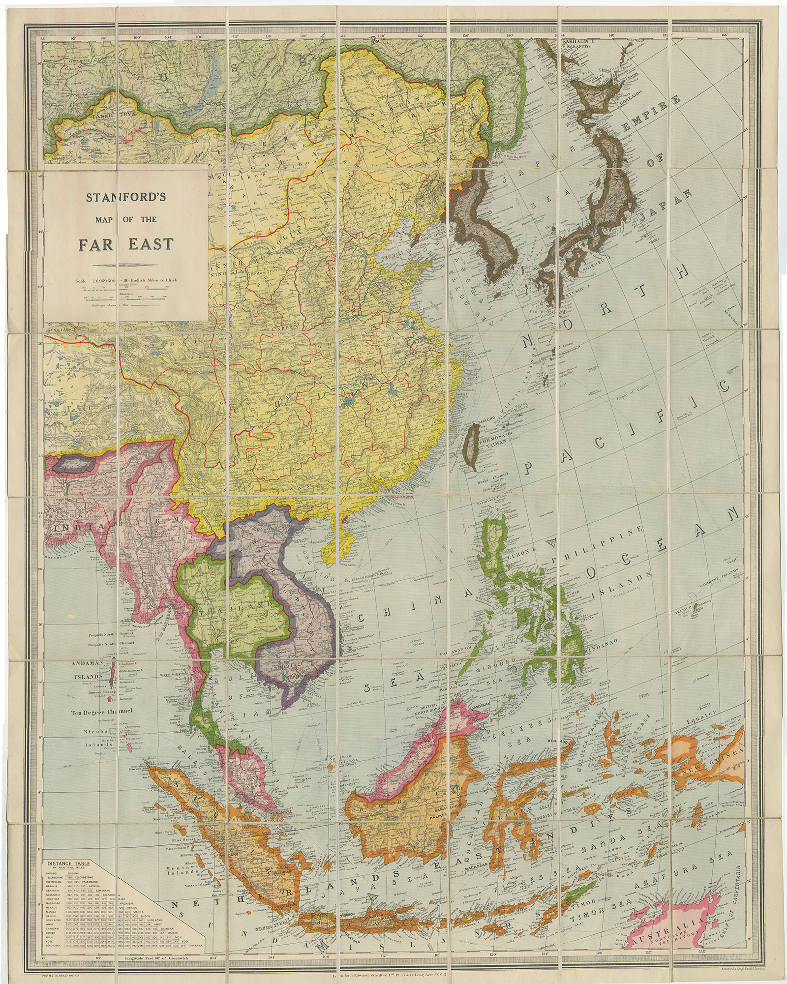 Antique Map of South East Asia by Stanford (1945) - Bartele ...