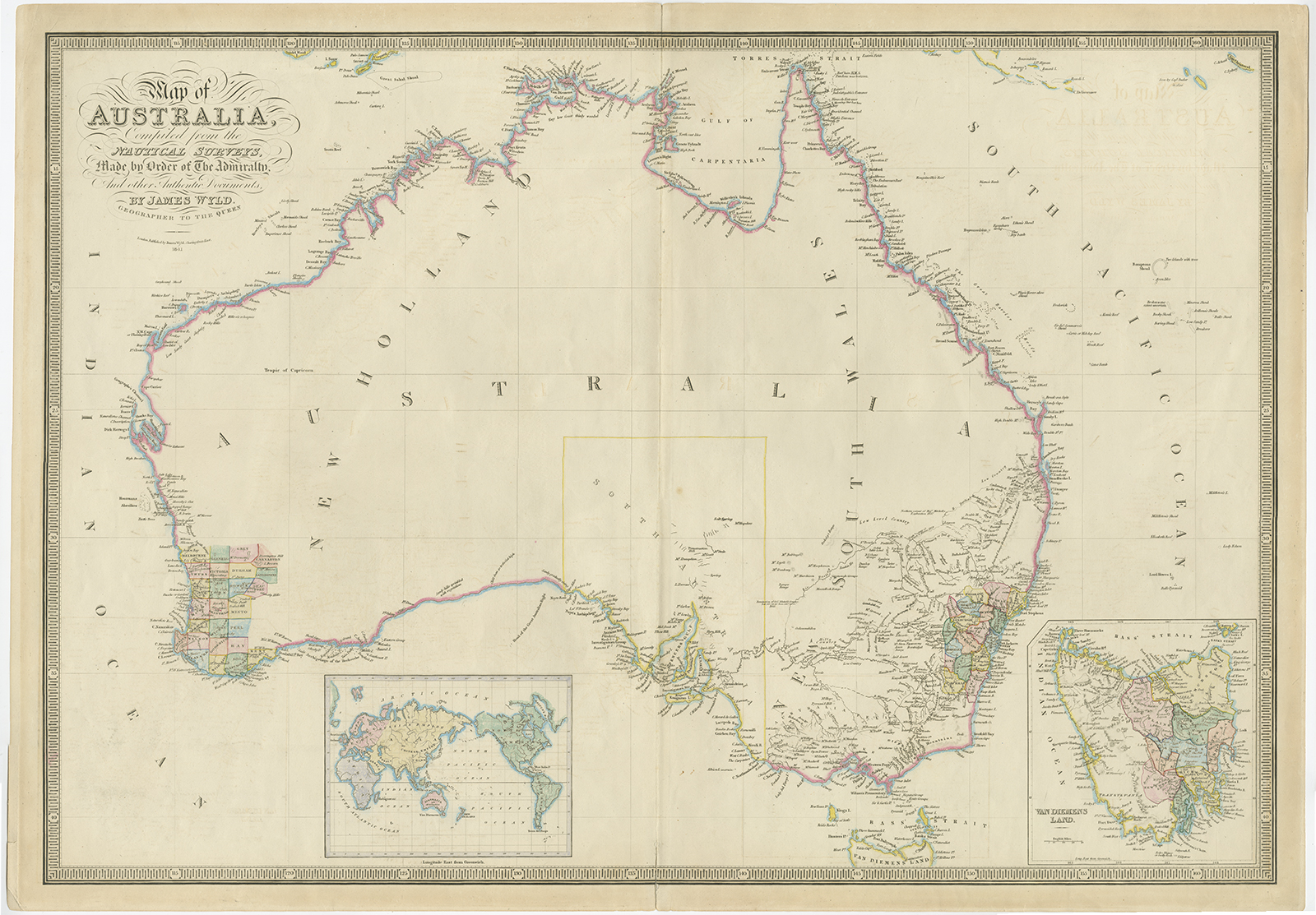 Antique Map Australia by Wyld (1850)Bartele Gallery