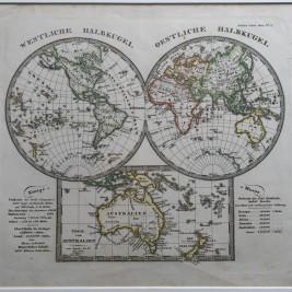 Antique World Map by A. Stieler