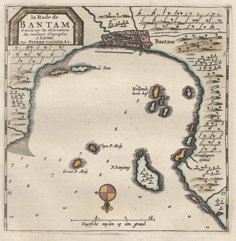 Antique Map Bay of Banten (Java) by Van der Aa (1719)Bartele Gallery