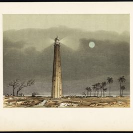 Antique Print of a Lighthouse in the Sunda Strait by Perelaer (1888)