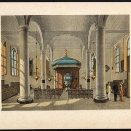 Antique Print of a Church Interior in Batavia by Perelaer (1888)