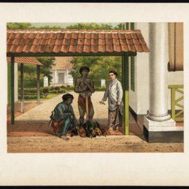 Antique Print of a Chicken Salesman in Batavia by Perelaer (1888)