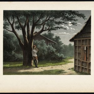 Antique Print of a Native Playing the Flute in Batavia by Perelaer (1888)