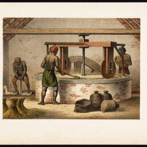Antique Print of a Mill for Rice Peeling by Perelaer (1888)