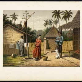 Antique Print of a Domestic Scene on Java by Perelaer (1888)