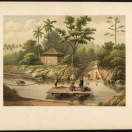 Antique Print of a Ferry over the Ci Durian River by Perelaer (1888)