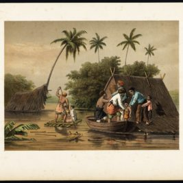 Antique Print of a Flooding near Tegal (Java) by Perelaer (1888)