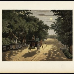 Antique Print of a Carriage Ride in Magelang by Perelaer (1888)