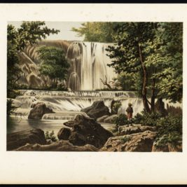 Antique Print of a Waterfall on Java by Perelaer (1888)
