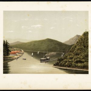 Antique Print of a Steamship at the Legundi Strait by Perelaer (1888)