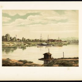 Antique Print of a Steamship at the Barito River by Perelaer (1888)