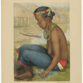 Antique Print of a Tring Dayak woman - Kell (1881)