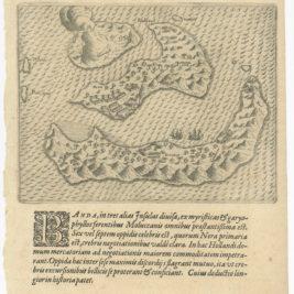 Antique Map of the Banda Islands by De Bry (c.1600)