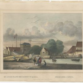 Antique Print of a loading dock in Batavia by Lauters (1844)