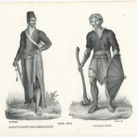 Antique Print of a Javanese Guard and Farmer by Brodtmann (c.1836)