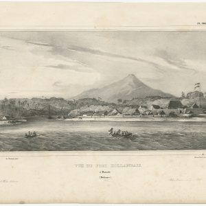Antique Print of a Dutch Fortress in Manado Bay by D'Urville (1833)