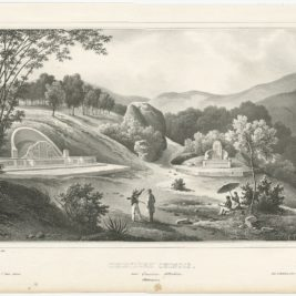 Antique Print of a Chinese Cemetery by D'Urville (1833)