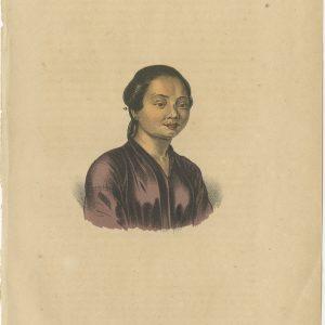 Antique Print of a Slave of Manado by Reinwardt (1858)