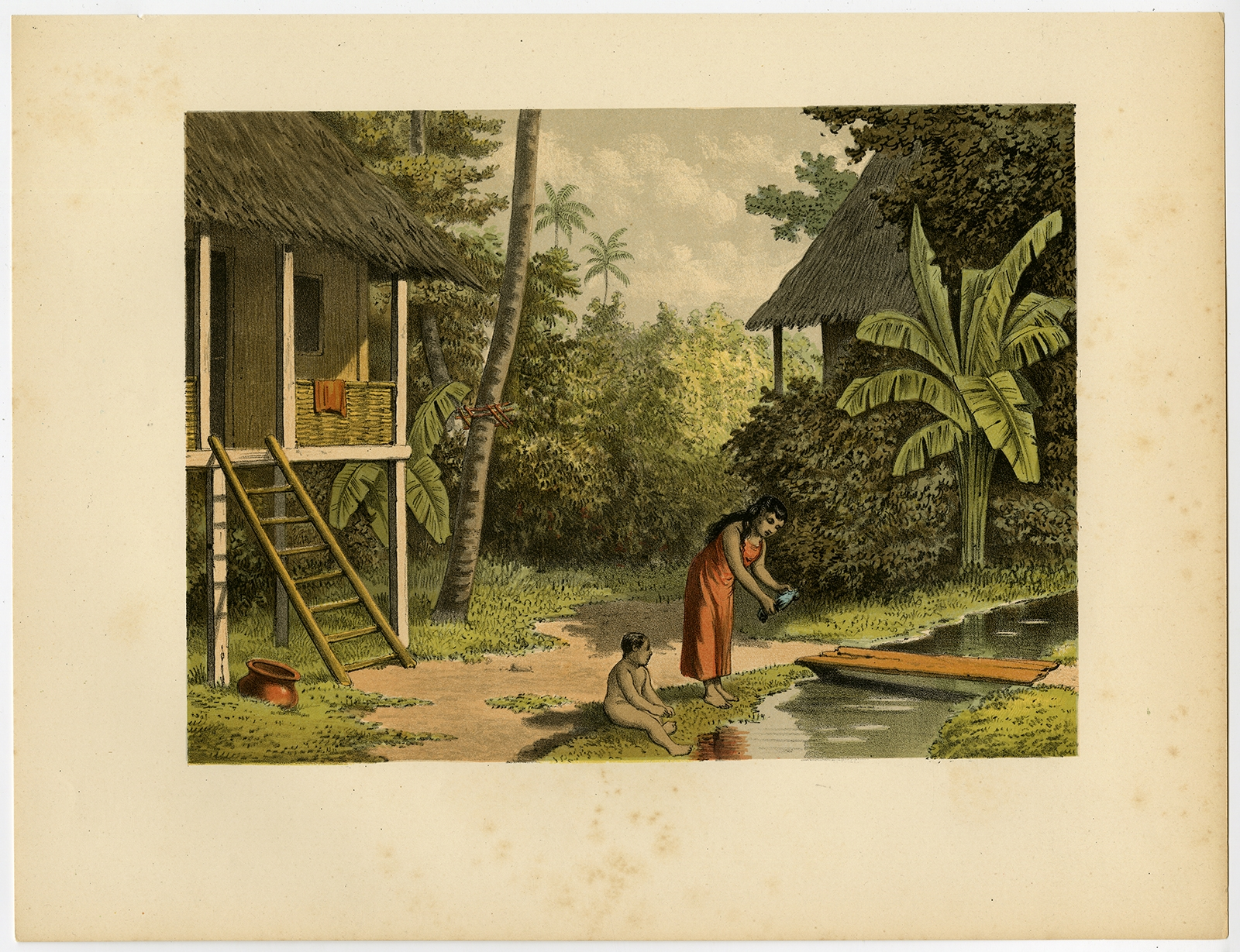 Antique Print of a House in Oleh-Leh 'Aceh' by Perelaer (1888)