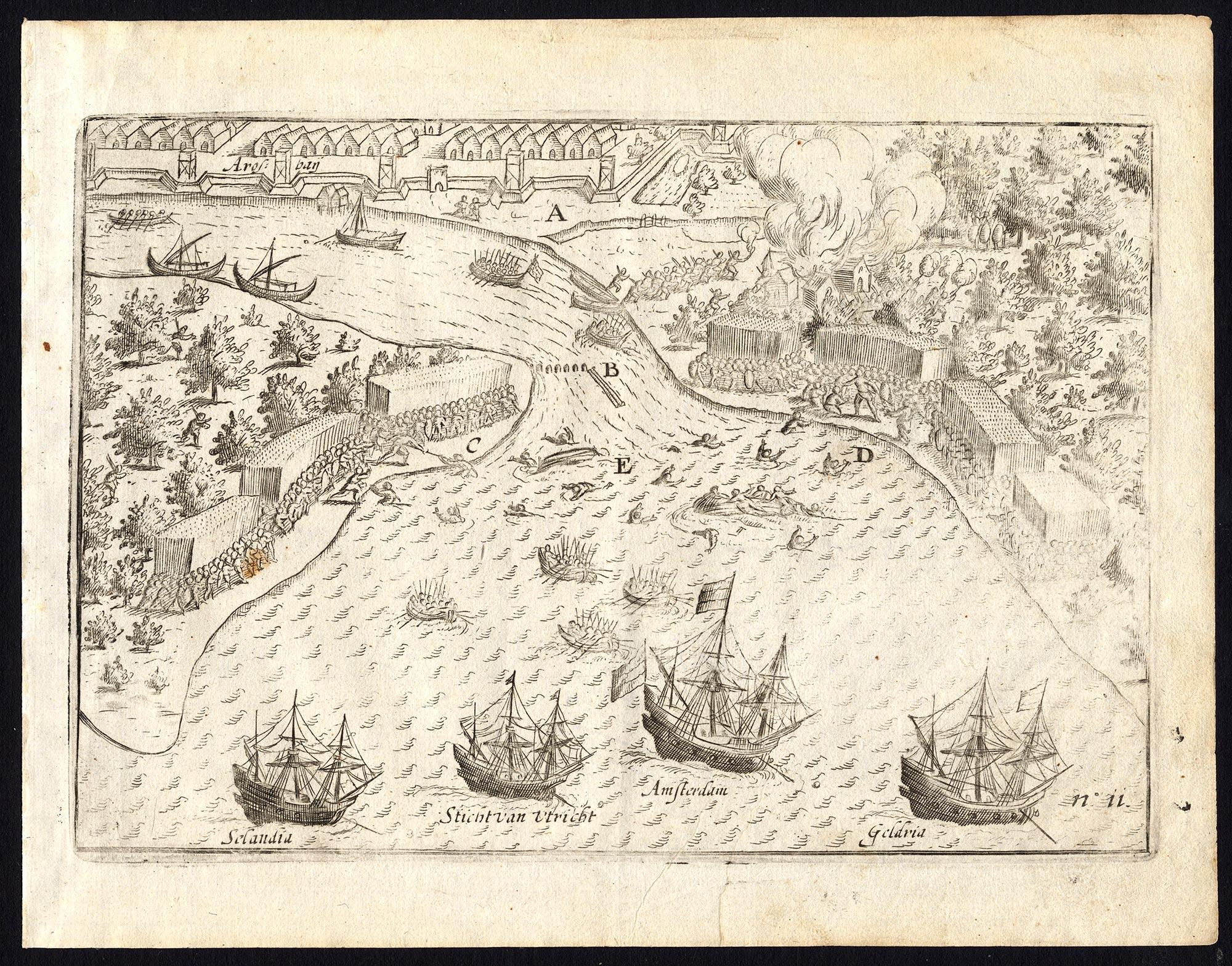 Pl.11 The Dutch VOC ships arriving at Arosbay - Commelin (1646)