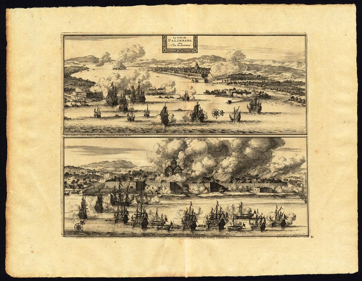 La ville de Palembang dans l'Ile de Sumatra - Van der Aa (1725)