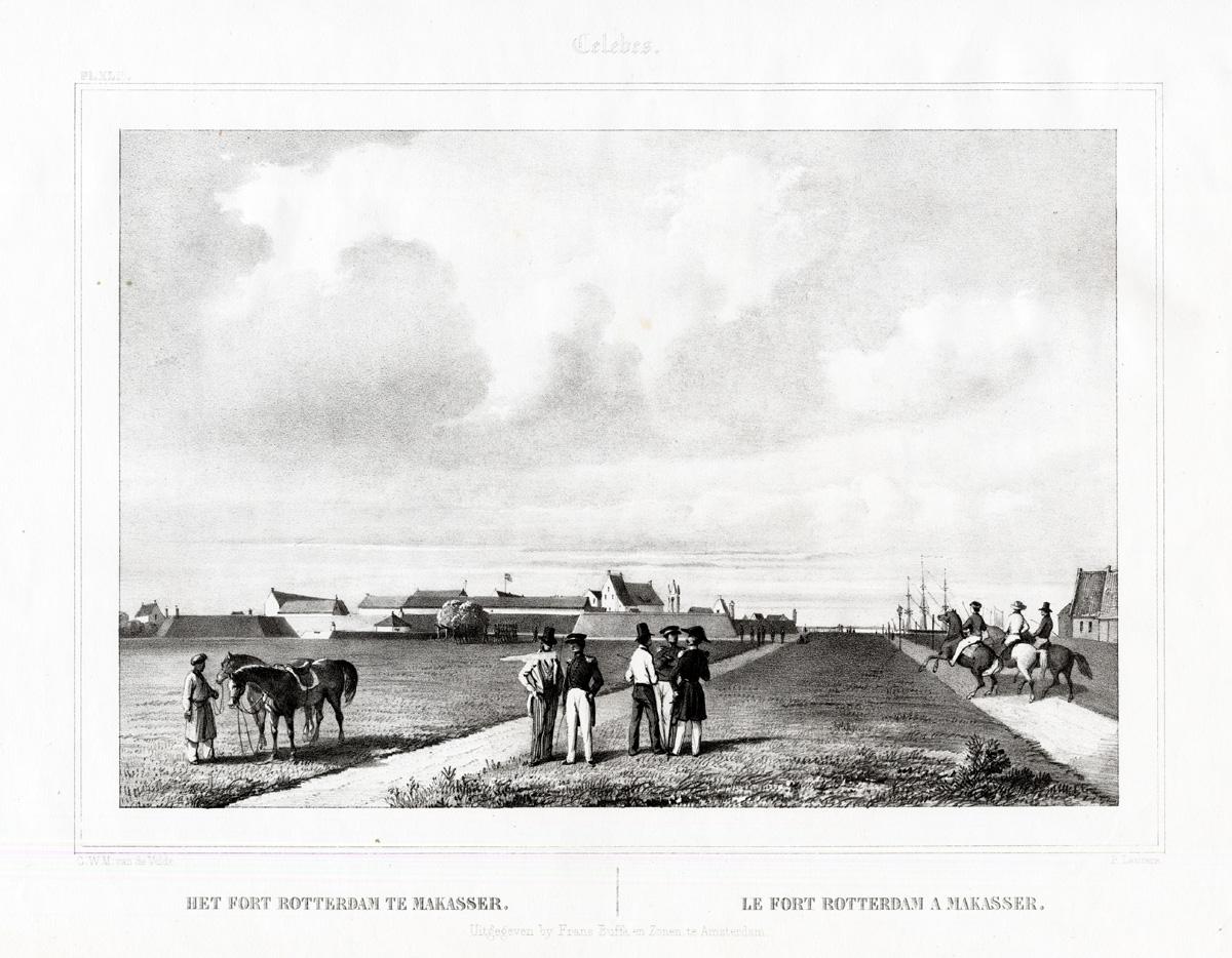 Pl.XLI Celebes - Het Fort Rotterdam te Makasser - Van de Velde (1844)