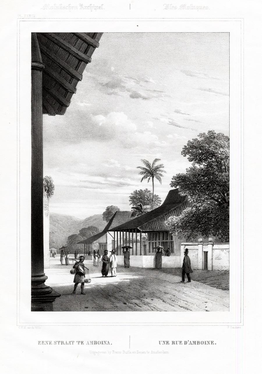 Pl.XXVIII Molukschen Archipel - Eene straat te Amboina - Van de Velde (1844)