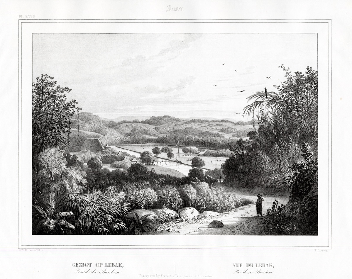 Pl.XVIII Java - Gezigt op Lebak, Residentie Bantam - Van de Velde (1844)