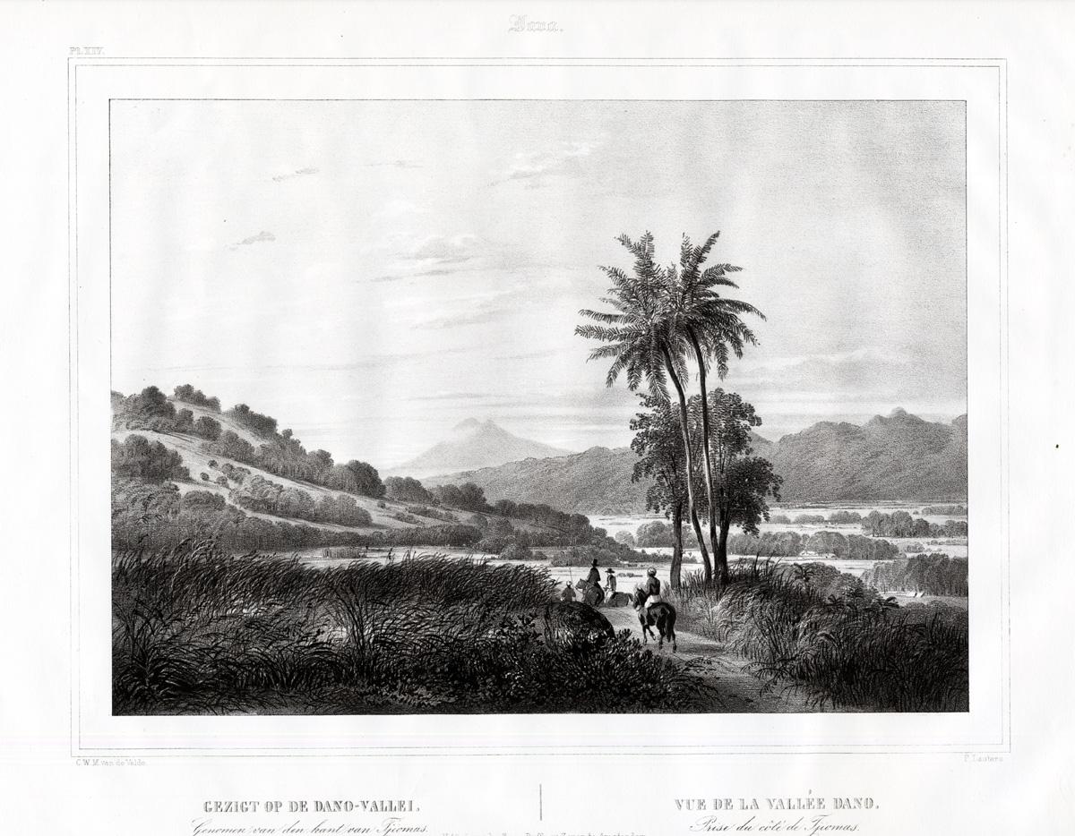 Pl.XIV Java - Gezigt op de Dano-Vallei. (..) van Tjiomas - Van de Velde (1844)