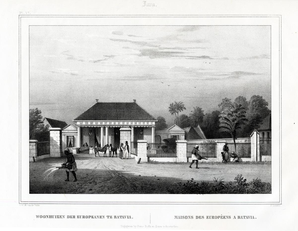 Pl.VI Java - Woonhuizen der Europeanen te Batavia - Van de Velde (1844)
