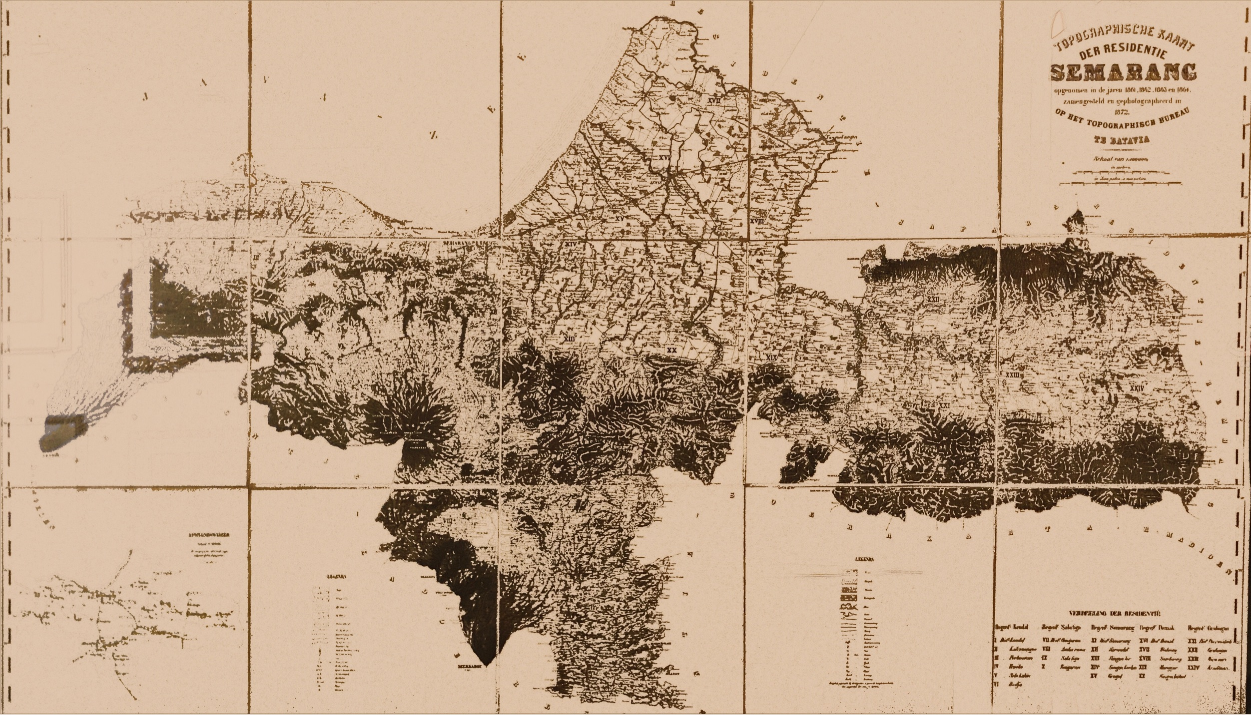 Topography Map of Semarang - Batavia Bureau (c.1872)