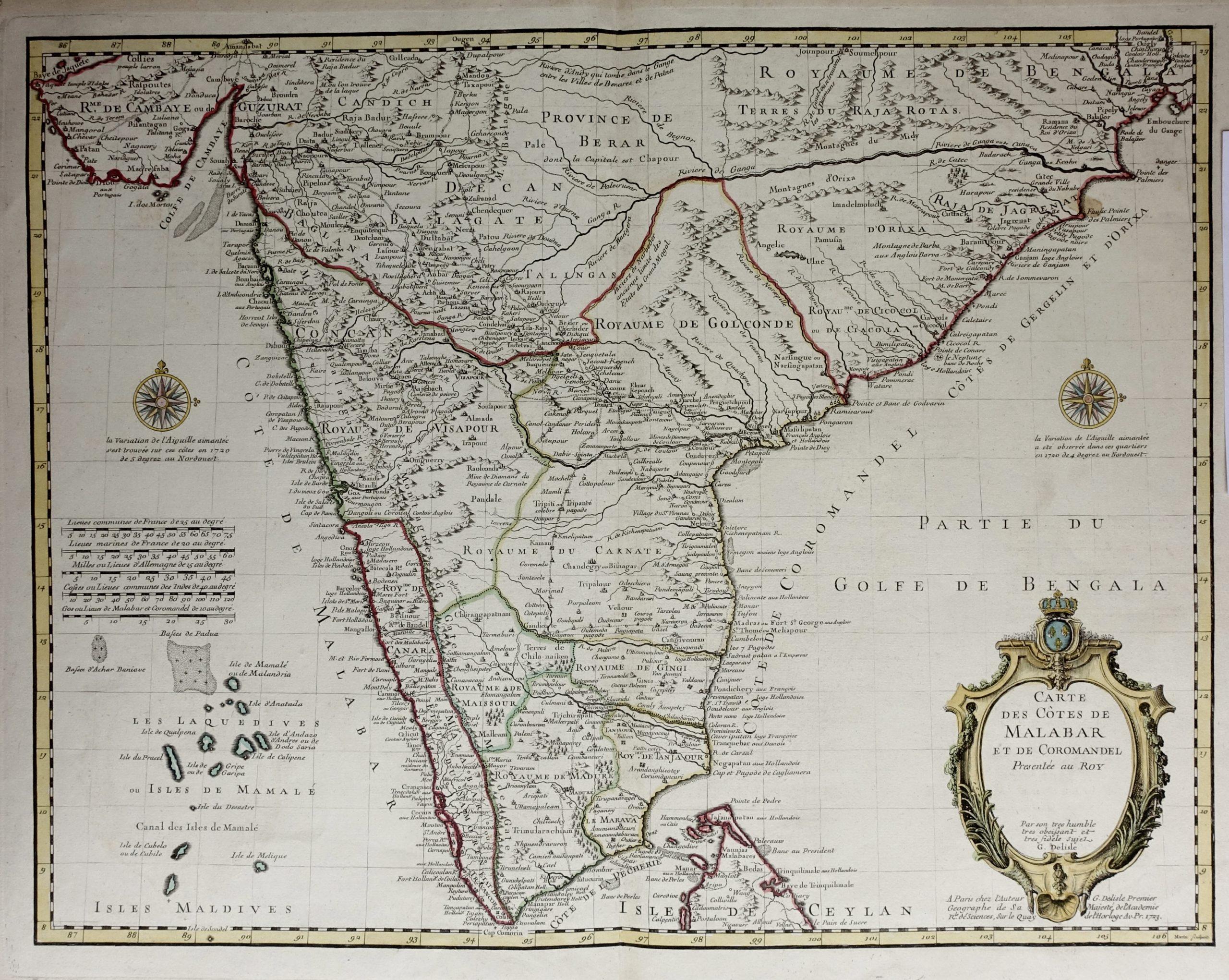 Antique Map of India and Sri Lanka - Delisle (1722)