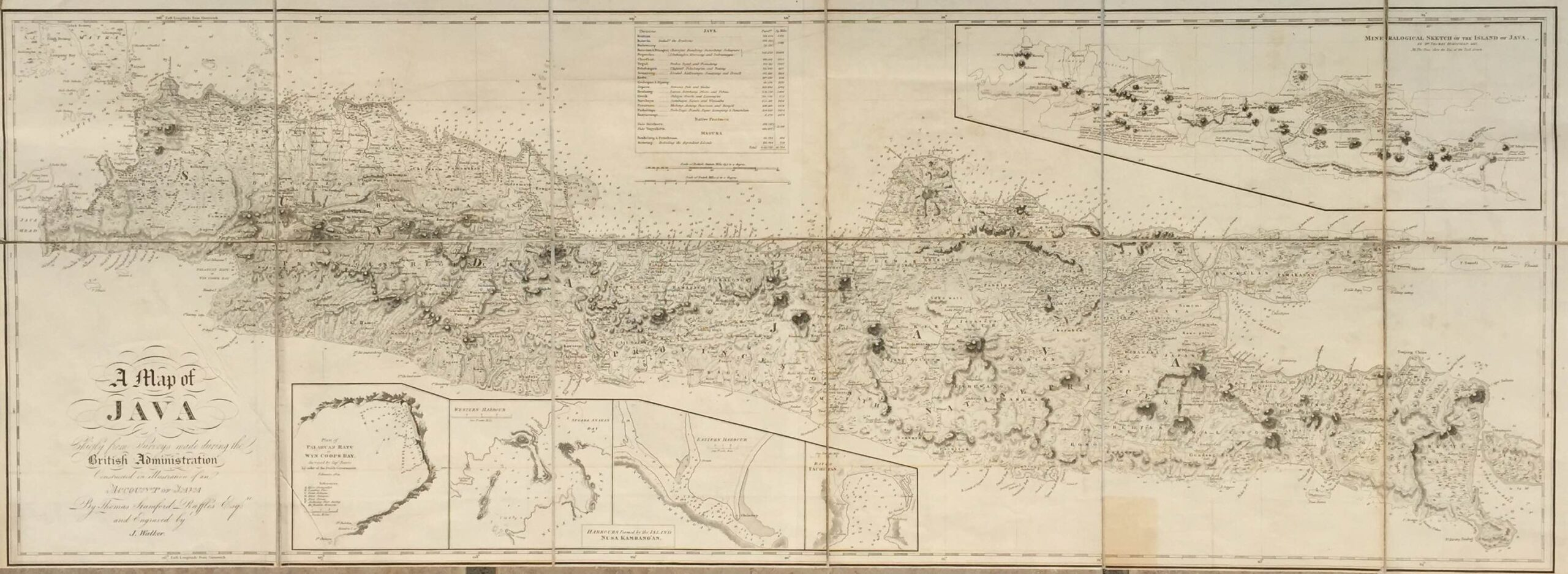 Antique Map Java by Raffles (c.1817) - SOLD