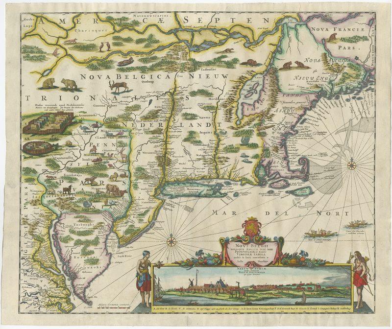 Map of New York (New Amsterdam) - Danckerts (1653-1655)