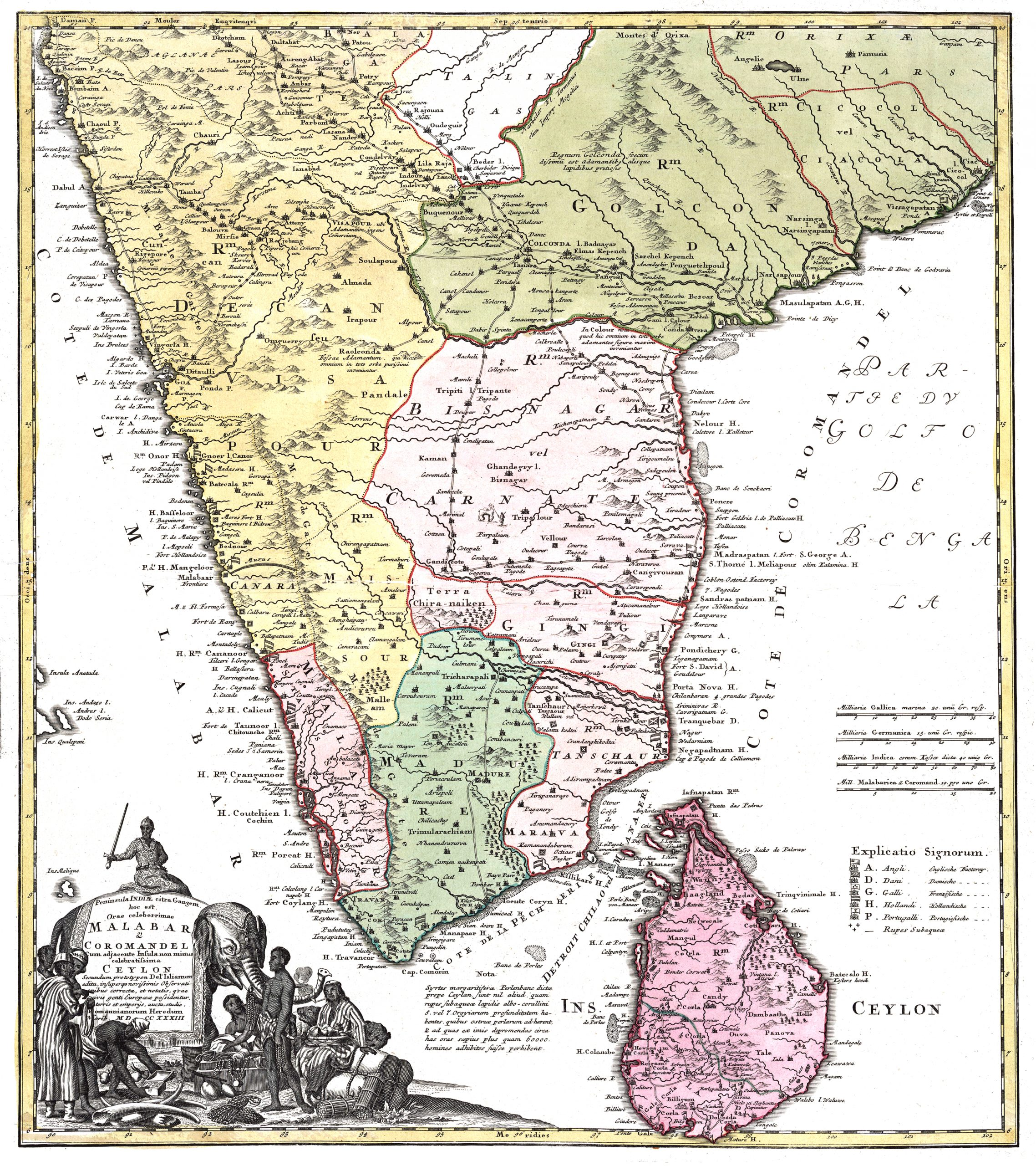 Map of Ceylon - Homann (c.1733)