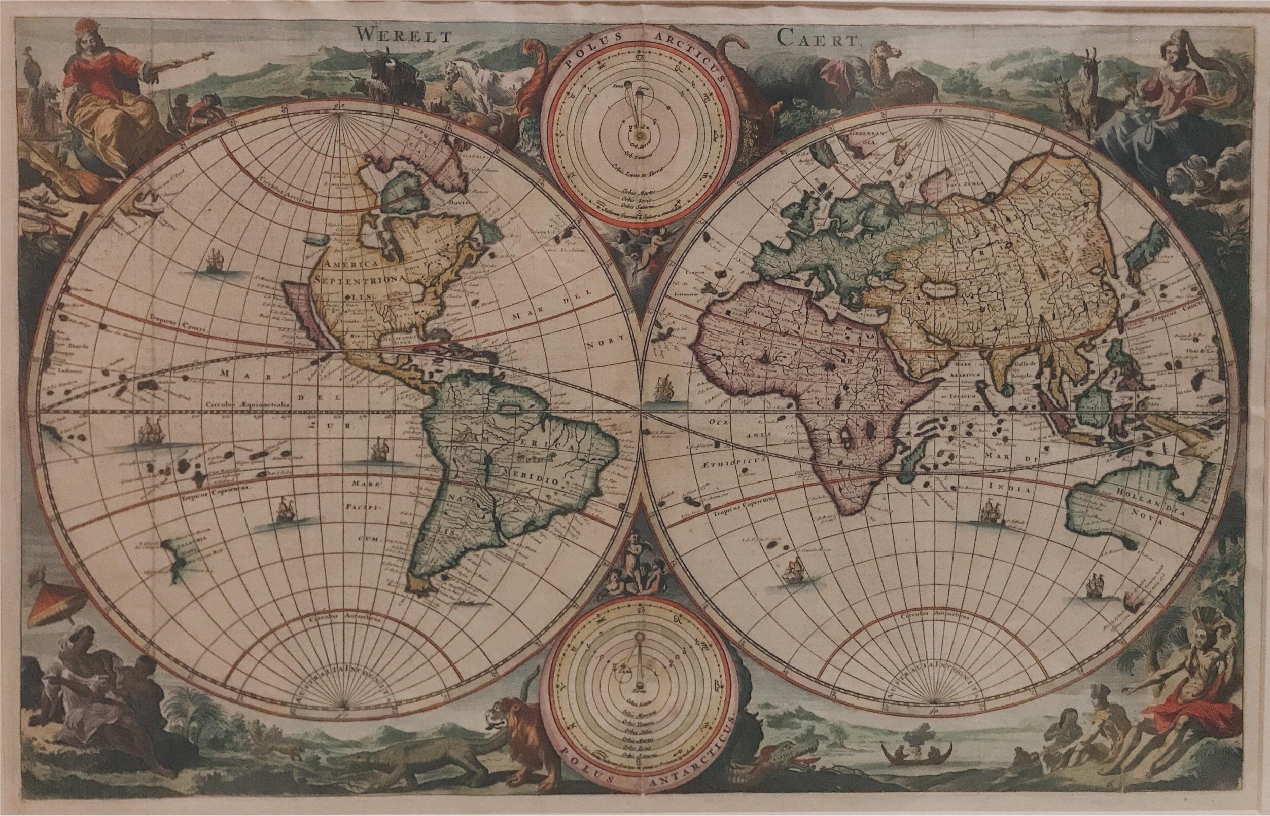 Double hemisphere world map - Stoopendaal (c.1730)