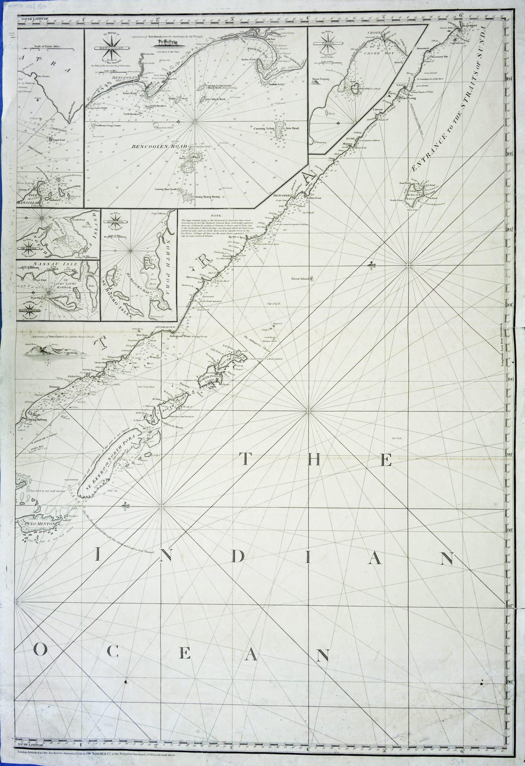 Left-sheet Chart of the Indian Ocean - Norie (c.1832)