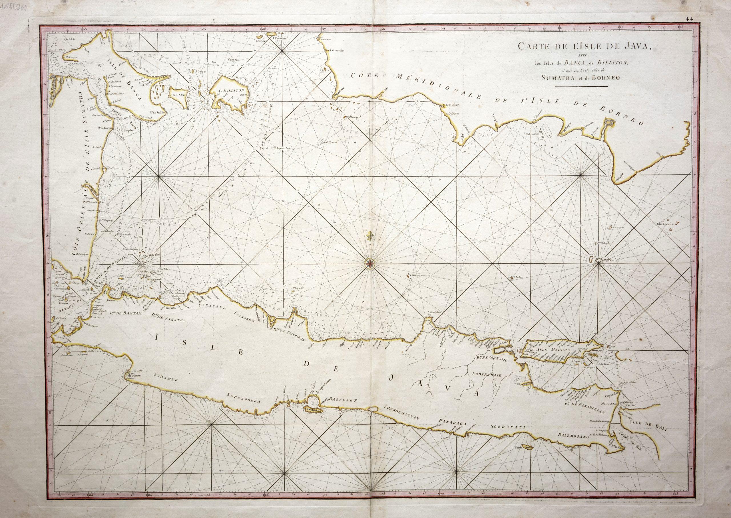 Sea Chart of Java Island - Mannevillette (c.1745)