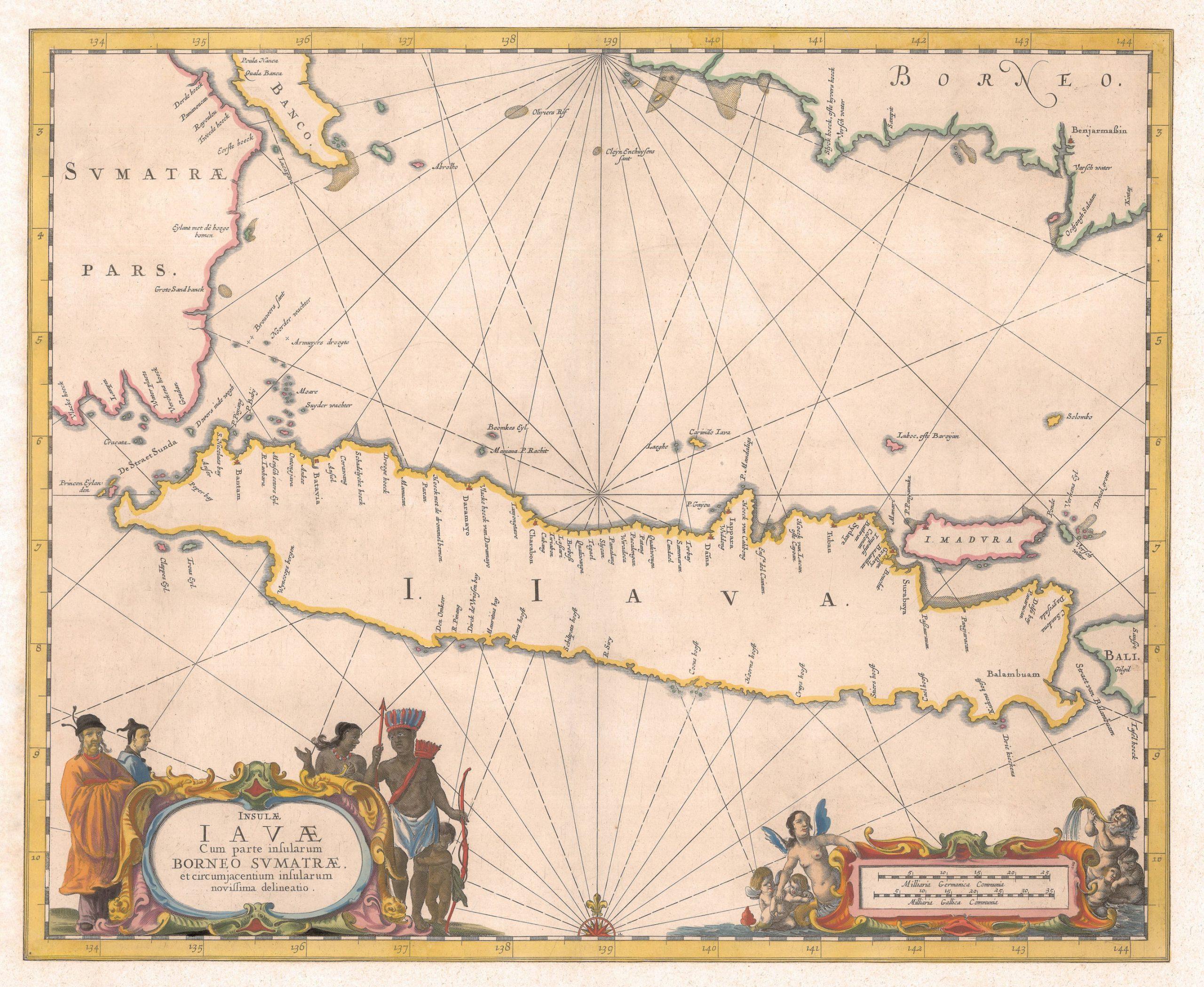 ea Chart of Java Island - Janssonius c.1657